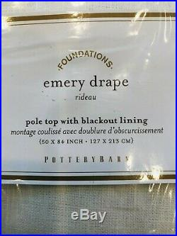 Pottery Barn Emery Drape 50x84 Blackout White Curtain Panel Linen Cotton Decor