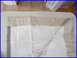 Pottery Barn Emery Framed Border Linen Curtain 50 x 96 Oatmeal Gray #7065