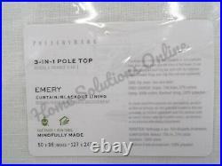 Pottery Barn Emery Linen Blackout Curtain Drape Panel 50 x 96 Ivory S/ 2 H113