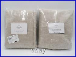 Pottery Barn Emery Linen Blackout Curtain Drape Panel Oatmeal 50x96 S/2 #104A