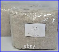 Pottery Barn Emery Linen Cotton Curtain Drapes Oatmeal 100x96 set of two