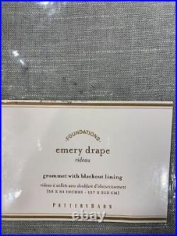 Pottery Barn Emery Linen/Cotton Grommet Blackout Curtain 50w x 84l, Blue Dawn