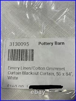 Pottery Barn Emery Linen/Cotton Grommet Blackout Curtain 50w x 84l, White
