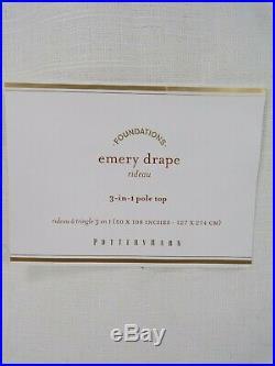 Pottery Barn Emery Linen Cotton Lined Drape Panel Curtain 50 x 108 White #6220