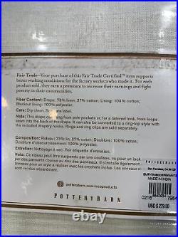 Pottery Barn Emery Linen/Cotton Rod Pocket Blackout Curtain, 100 x 84, White