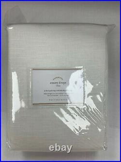 Pottery Barn Emery Linen/Cotton Rod Pocket Blackout Curtain 50 x 96 White