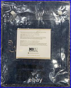 Pottery Barn Emery Linen/Cotton Rod Pocket Curtain, 50w x 84l, Midnight Denim