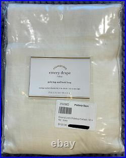 Pottery Barn Emery Linen/Cotton Rod Pocket Curtain, 50w x 96l, Ivory