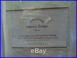 Pottery Barn Emery Linen Drape Panel 100 x 84 Lined Doublewide White Blackout #8