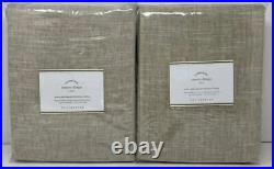Pottery Barn Emery Linen Poletop BLACKOUT Drape Curtain (2) 50 x 96 Oatmeal