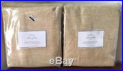 Pottery Barn Emery Linen Poletop Blackout Drape Curtain (2) 50 x 108 Wheat