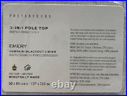 Pottery Barn Emery Linen Rod Pocket Blackout Curtain, 50 x 84, White, Free Ship
