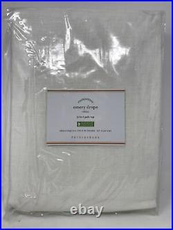 Pottery Barn Emery linen cotton rod pocket drape curtain panel X2 50x96 White JI
