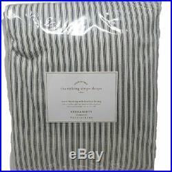 Pottery Barn Emily & Meritt Ticking Stripe Curtain Drapes TWO 50x108 Blackout