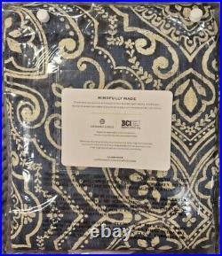 Pottery Barn Emina Print Linen/Cotton Rod Pocket Curtain, Blue Multi, 50wx108l