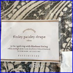 Pottery Barn FINLEY PAISLEY S/2 84 BLACKOUT DRAPE PANELS NEW Anthracite Gray