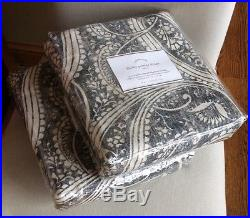 Pottery Barn FINLEY PAISLEY S/2 96 BLACKOUT DRAPE PANELS NEW Anthracite Gray