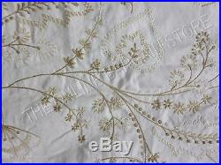 Pottery Barn Flora Embroidered Drapes Curtains Panels 50x63 Linen Neutral Pole
