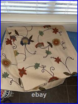 Pottery Barn Floral Crewel Linen 2 Panels Curtains Beige 50x106 Embroidered
