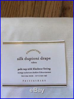 Pottery Barn Foundations Silk Dupioni Drape Pole Top with Blackout Lining 50x84