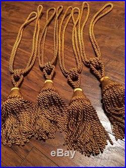 Pottery Barn Gold Velvet Drapes 3 Panels 96 X 48 4 Tie backs Included