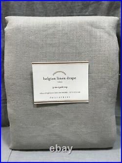 Pottery Barn Gray Belgian Libeco Linen Unlined Drape Panel 84 Curtain