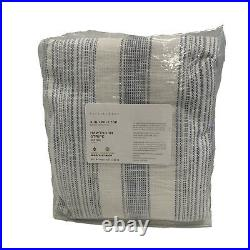 Pottery Barn Hawthorn Striped Cotton Rod Pocket Curtain 50 x 84 Blue 3-in-1 Pol