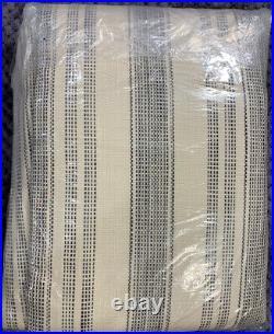 Pottery Barn Hawthorn Striped Cotton Rod Pocket Curtain, 50w x 108l, Charcoal