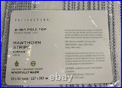 Pottery Barn Hawthorn Striped Cotton Rod Pocket Curtain, 50w x 96l, Blue
