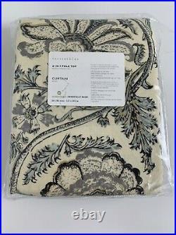 Pottery Barn Haylie Print Linen Cotton Rod Pocket Curtain 50 x 96 Gray Multi
