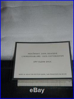 Pottery Barn Ivory Dupioni Silk Pole Pocket Drape Panels 50 x 96 NEW