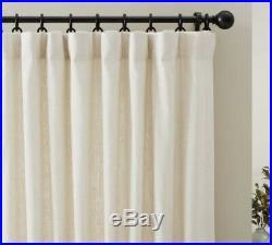 Pottery Barn Ivory Emery Drape Curtains With Drapery Hooks 50 X 84, Set Of 4