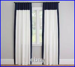 Pottery Barn Ivory Framed Navy Border 100% Linen curtains Lined 50x84 Inches