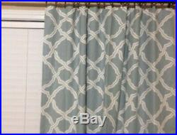 Pottery Barn Kendra Trellis Drape Blue Curtains Set of 2 Panels 50 x 96 Geometic
