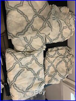 Pottery Barn Kendra Trellis Sheer Drapes Curtains 50 x 84 Linen Blue 1 Pair