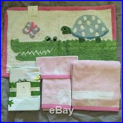Pottery Barn Kids Alligator Bath Hand Towels Shower Curtain Bath Mat Pink  5pc
