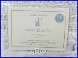 Pottery Barn Kids Crochet Lace Sheer Panels Drapes Curtains S /2 White 96 #2696