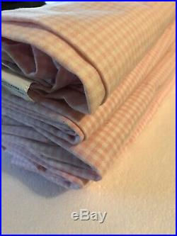 Pottery Barn Kids Curtains 5 Panels Pink & White Gingham 44x63 Cotton Rod Pocket