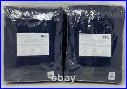 Pottery Barn Kids Evelyn Blackout Panel Drape Curtain (2) 44 x 96 Navy Blue
