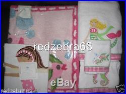 Pottery Barn Kids Girl Pink Mermaid Bath Towels Mat Rug Shower Curtain 5-pc Set