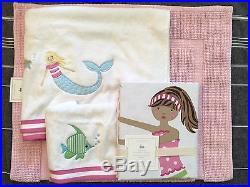 Pottery Barn Kids Mermaid Shower Curtain Bath Towel Hand Mat Pink 4pc