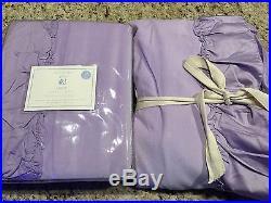 Pottery Barn Kids Set 2 Lucy Purple Velvet Blackout Drapes Panels 44 x 84 NEW