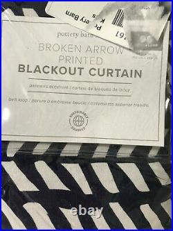 Pottery Barn Kids Set of 2 Broken Arrows Printed Blackout Curtains 96 Navy Blue