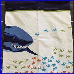 Pottery Barn Kids shark shower curtain Bath Towel hand towel navy 3pc