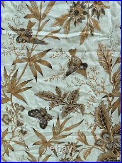 Pottery Barn Lined Linen Cotton Curtain Drape Set Pale Blue Bird Floral 50x108
