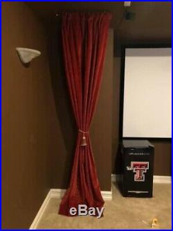 Pottery Barn Lined Red Wine Colored Curtains (3), Great For Movie/media Room Too