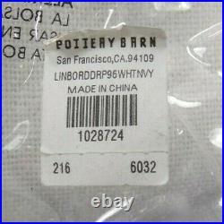 Pottery Barn Linen Border Blackout Drape Panel Curtain 50x 96 White Navy #8095