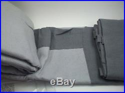 Pottery Barn Linen Border Panels Drapes Curtains Smoke Flagstone 84 S/ 2 #471