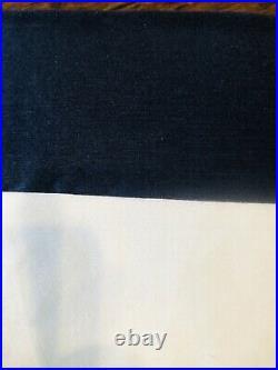 Pottery Barn Linen Silk Border Curtains Drape Panels 50x108 New Navy White Decor