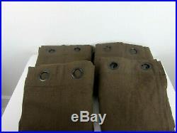 Pottery Barn Lot of 4 Lined Curtains Dark Brown Linen Blend Grommet Rod Pocket